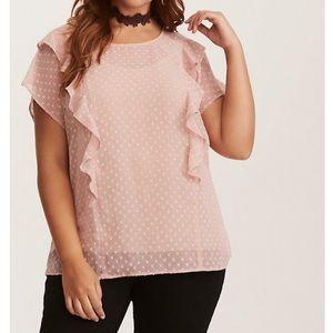Torrid Chiffon ruffle front polka dot blouse 2